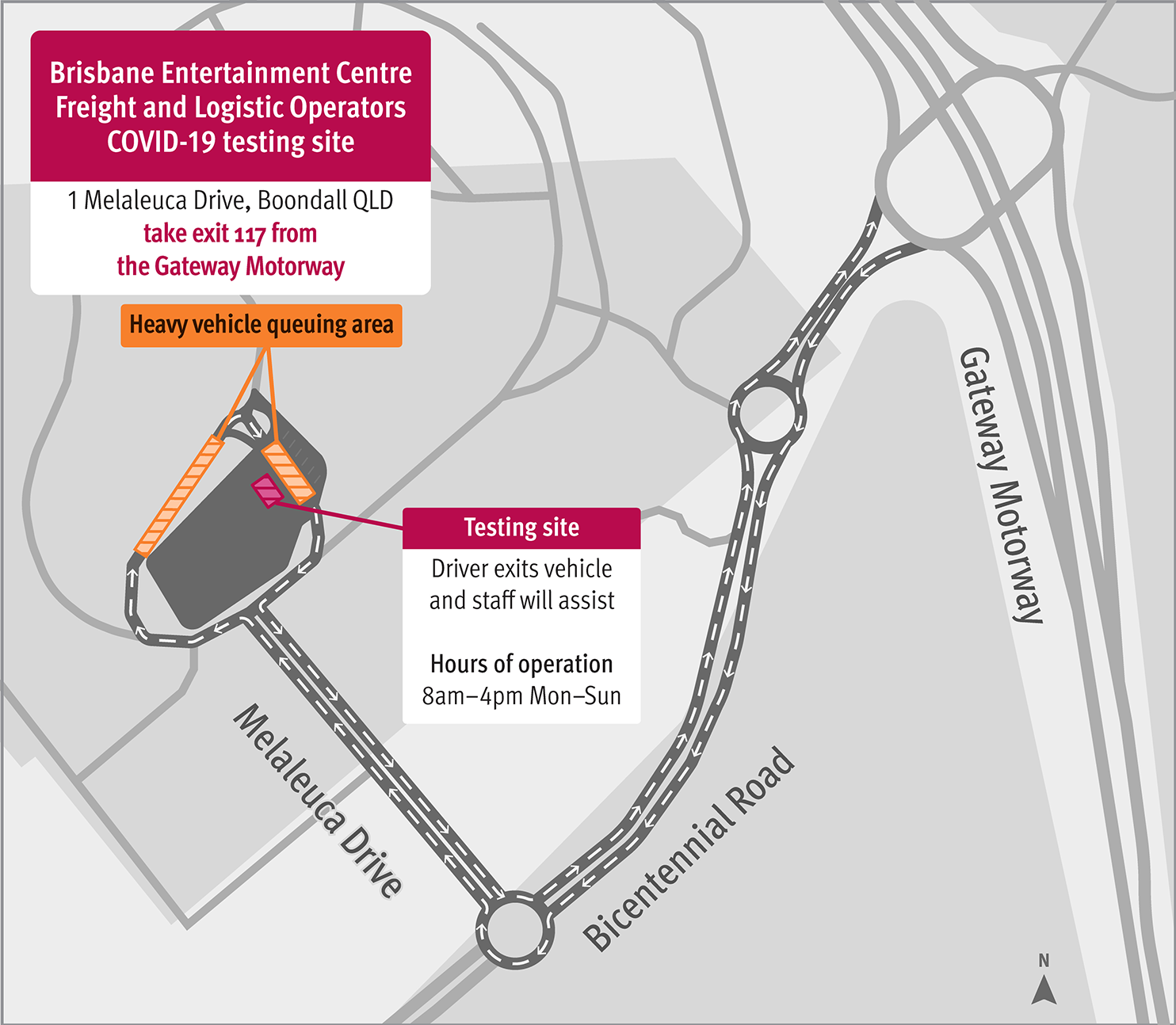 Boondall testing centre map